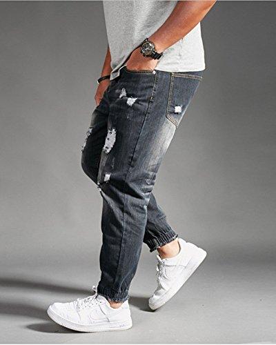A Dritta E Uomo Jeans Svago Della Di Buco Comfort Gamba Baggy Nero Pantaloni Denim 2H9EDI