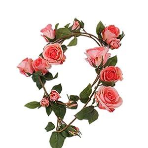Miaomiaogo Artificial Rose Garlands Flower Wreath Vine Fake Hanging Rattan Wedding Garden Decor Pastel Pink 74
