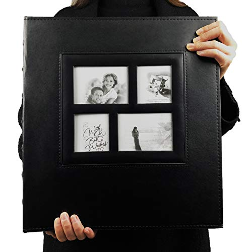 RECUTMS Photo Album 4x6 600 Photos Black Pages Large Capacity Leather Cover Wedding Family Photo Albums Holds 600 Horizontal and Vertical Photos (Black) (4 Page Layout)