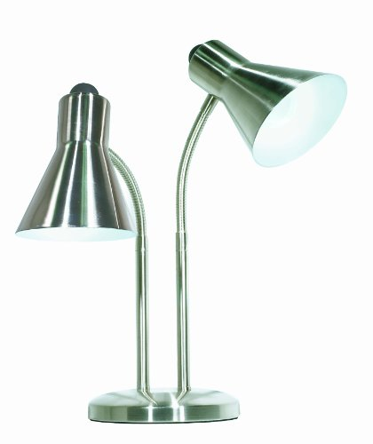Satco Products 60/806 Twin Goose Neck Desk Lamp, Brushed Nickel