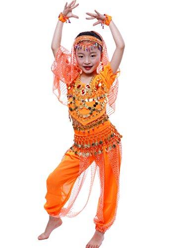 Astage Girls Short Sleeve Belly Dancing Carnival Performance Costume All Sets Orange XL -