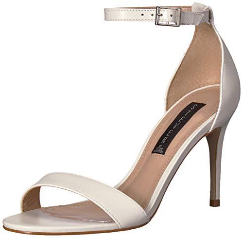 (STEVEN by Steve Madden Women's Naylor Heeled Sandal, White Leather, 8 M)