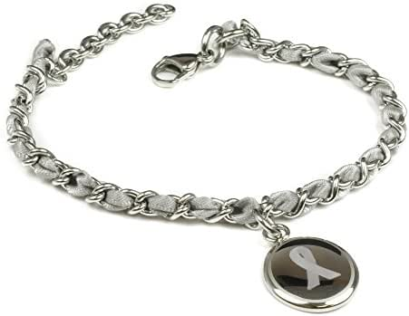 My Identity Doctor Custom Engraved Gray Awareness Bracelet - Silk Woven 316L Steel