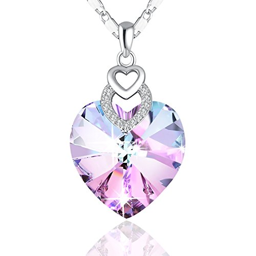 PLATO H Brave Heart Rainbow Color Pendant Necklace with Swarovski Crystal Love Heart Necklace, Heart Shape Neckalce, Woman Girls Fashion Pendant Necklace, Jewelry Necklace Gifts for Woman Girls