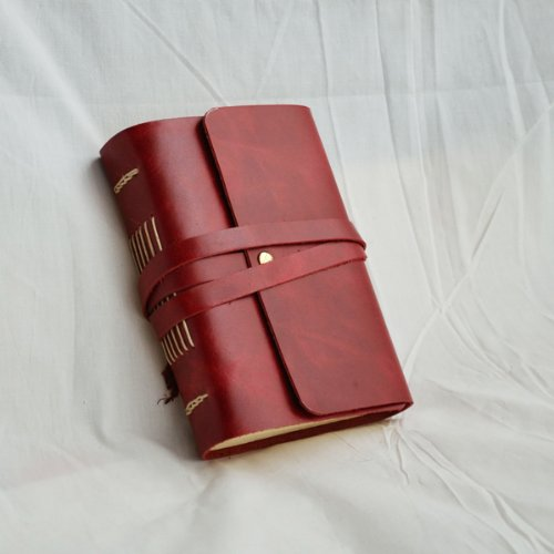 Ancicraft Classic Genuine Leather Journal with Strap Handmade Blank Craft Paper Red A6 with Gift Box