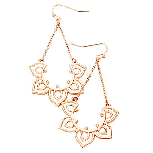 Rosemarie Collections Women's Stunning Intricate Rose Gold Lightweight Dangle Earrings