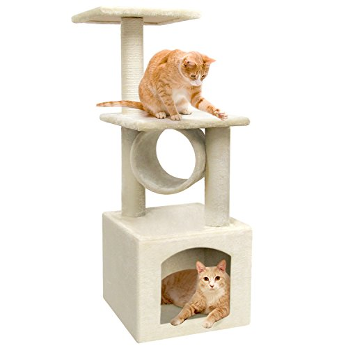 Cat Tree Cat Tower with Scratching Post Cat Condos and Towers Beige Kitty Condo for Cats Activity Trees Cat Play Tower Kitty Climber Tree Cat Scratcher Tree House Climbing Tower ()