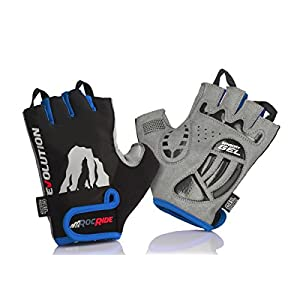 RocRide Cycling Gloves with Gel Padded Protection. Road and Mountain Biking. Half Finger with Pull Tabs. Men, Women and…