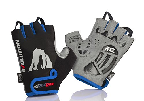 RocRide Cycling Gloves with Gel Padded Protection. Road and Mountain Biking. Half with Pull Tabs Men, Women and Children Sizes. (Blue, Mens X-Large)