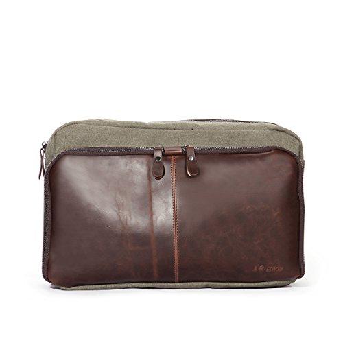 Eshow bolsos de bandoleras hombre a hombro multifuncional de tela retro casual para viaje Aceituna