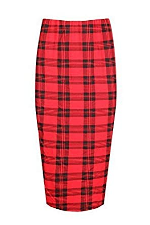 07965ff3e41 Fashion Star Womens Ladies Elasticated Waist Tartan Prints Stretchy Party  Midi Dress Skirt