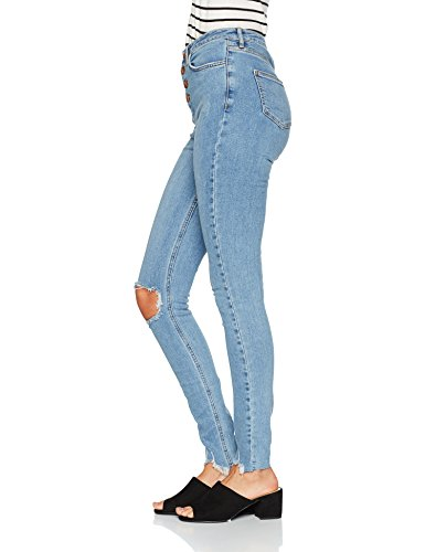 40 Jean Highwaisted Blue Ripped Mid Bleu Femme Skinny Look New xZpaC