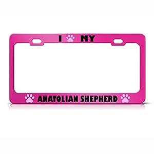 Anatolian Shepherd Paw Love Pet Dog Metal License Plate Frame Holder Hot Pink 16