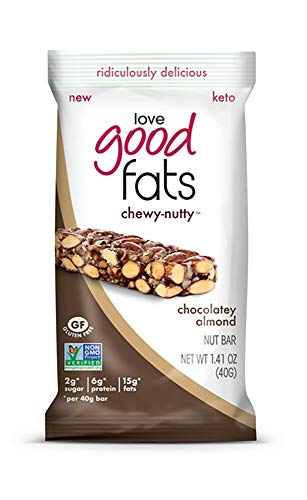Love Good Fats – Chewy-Nutty Chocolatey Almond Keto Bars – Vegan Protein Bars with Natural Ingredients – Gluten-Free, Low Carb Ketogenic Bar with 9g of Protein and Coconut Oil – 12 Count (39g Bars) …