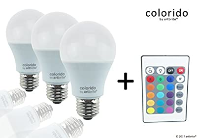 colorido by artbrite RGB+W LED SET 3 BULBs A19 E26 7,5W warm white + remote, ETL