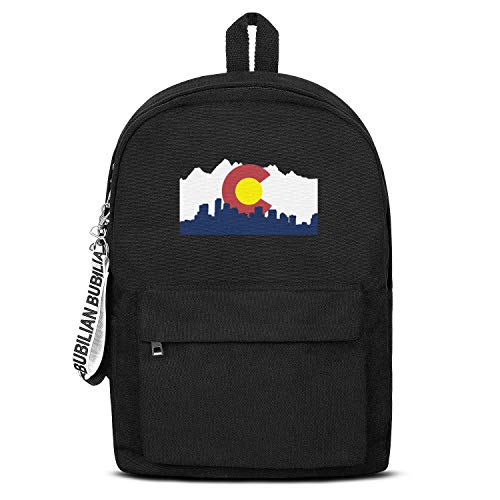 the Flag Of Colorado Women Men Water Resistant Black Canvas School Backpack Student Backpack ()