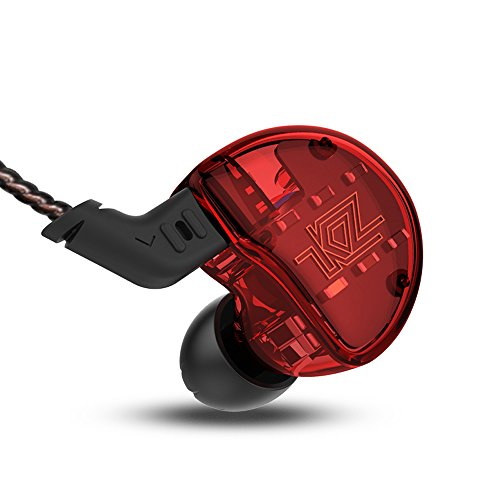 KZ ZS10 Hybrid 4 Balance Armature with Dynamic Units In ear Earphone 1DD+4BA 0.75mm 2pin Detachable Cable 5 Units OFC Cable 3.5mm Connector Stereo Noise Cancelling HIFI Sports NICEHCK (Red with mic) by KZ (Image #2)