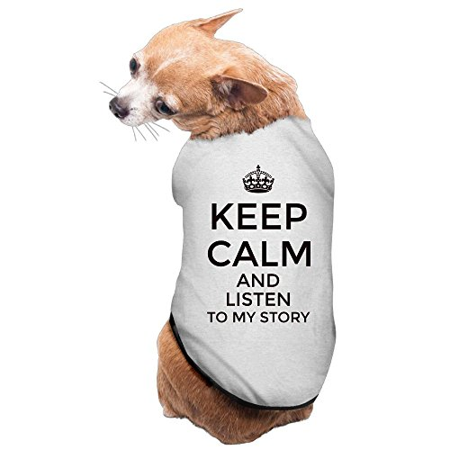 WUGOU Dog Cat Pet Shirt Clothes Puppy Vest Soft Thin Keep Calm And Listen To My Story 3 Sizes 4 Colors Available ()