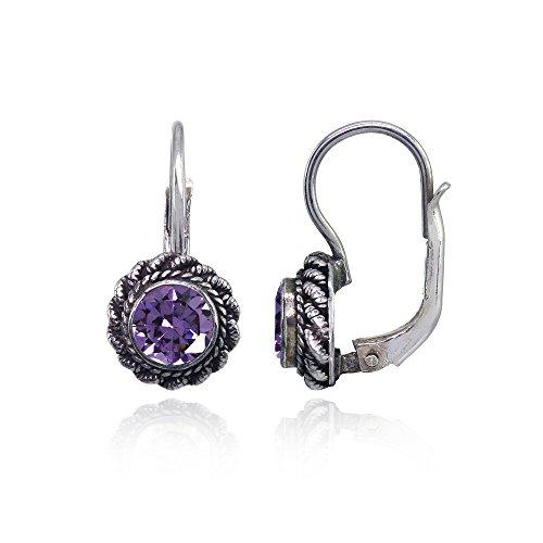 Sterling Silver Purple CZ Round Oxidized Bali Twist Rope Leverback Drop Earrings