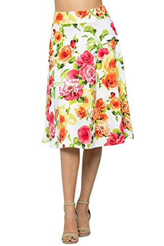 Junky Closet Women's A Line Knee Length High Waisted Skirt (Made in USA) (L, A20447LLAP Ivory Floral) ()