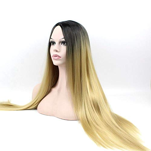 Wig   High Temperature Silk Black Gradient Light Gold Long Straight Hair]()