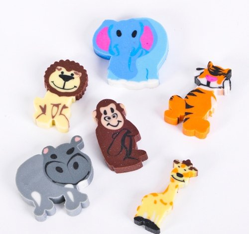 1'' MINI ZOO ANIMAL ERASER ASSORTMENT, Case of 64