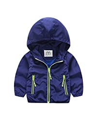Happy Cherry Boy's 2-7Y Hooded Outwear Windproof Zippered Jacket With Pockets