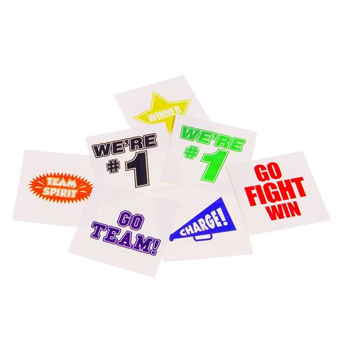 Lot Of 144 Assorted Yellow School Team Spirit Temporary Tattoos (Football Temporary Tattoos)