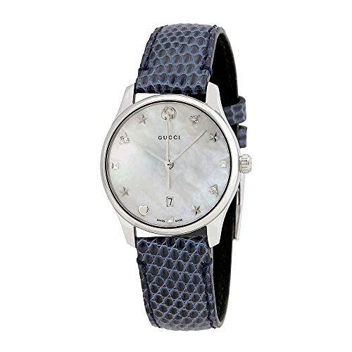 Gucci G-Timeless Mother of Pearl Dial Ladies Leather Watch YA126588