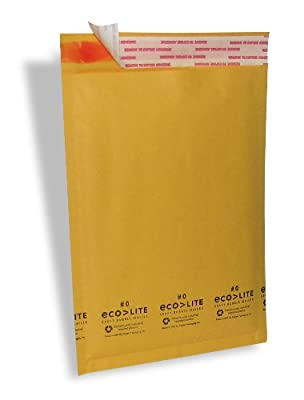 "Ecolite Kraft Bubble Mailer, #0, 6.5"" x 9"", Pack of 250"