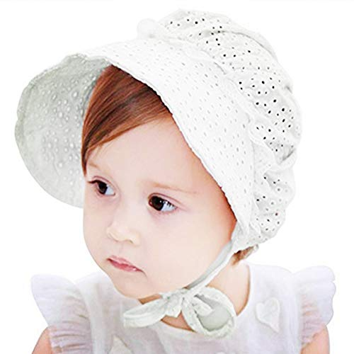 White Eyelet Bonnet - Baby Girl Toddlers Breathable Lacy Bonnet Eyelet Cotton Adjustable Sun Protection Hat (White-2)