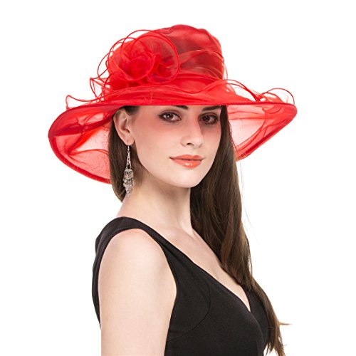 - SAFERIN Women's Organza Church Kentucky Floral Bridal Party Derby Hat Red