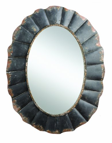 Creative Co-op Oval Mirror with Distressed Black Scalloped Metal Frame ()