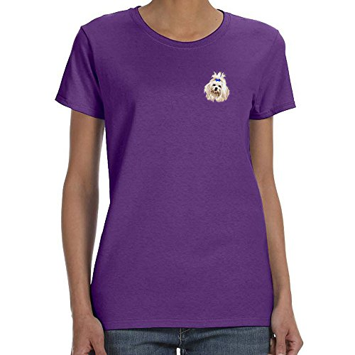 Cherrybrook Dog Breed Embroidered Womens T-Shirts - X-Large - Purple - Maltese