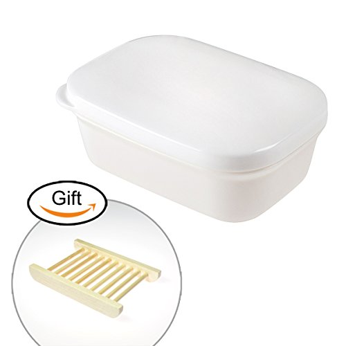 Plastic Soap Box White Seal Waterproof Travel Portable Soap Dish Plastic Container Soap Protectors Wooden Soap Holder Soap Case for Bathroom Travel Home (Rectangle shape ) (Dish Plastic Soap Travel)