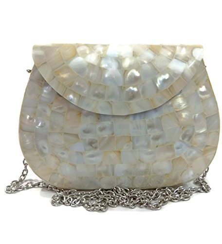 - Handmade Mother of Pearl bag Metal purse nacre wallet sling bag Metal clutch women party purse