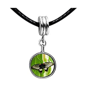 Chicforest Silver Plated Beautiful Lovely Butterfly Photo White Crystal(April Birthstone) Flower dangle Charm Beads Bracelets European Bracelets Compatible