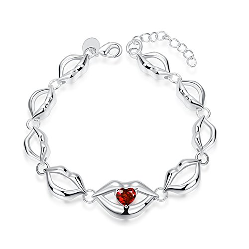 Creative Lips Silver Plated Bracelets Inlaid Red Heart CZ for Womens - Matthew L. - Sunglasses Lucid