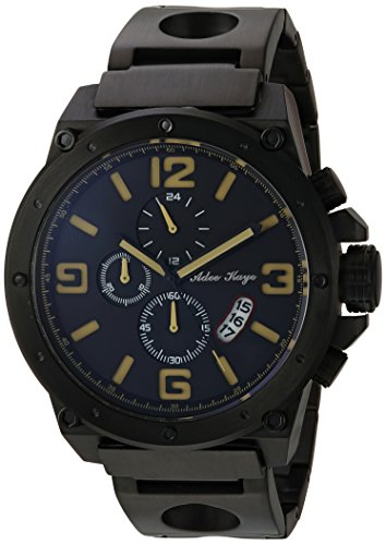 Adee Kaye Men's Quartz Stainless Steel Dress Watch, Color:Black (Model: AK8896MB-MIPB/YL)