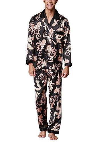 Moda E Due Autunno Da Pezzi Top Lunga Schwarz Leggero Sleepwear Pantaloni Lungo Primavera Accogliente Manica Uomo Momme Pigiama Rq0AU