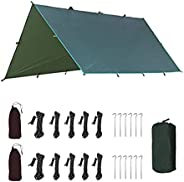 "Waterproof Camping Tent Tarp Hammock Rain Fly - 118""x125""/177""x216"",Lightweight UV Protection Sun Shade Canopy"