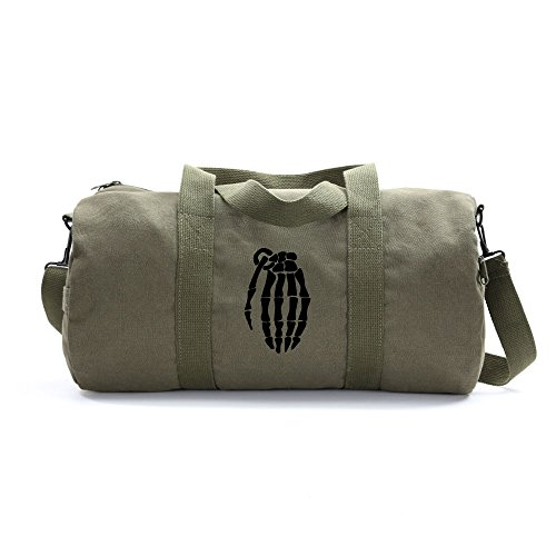 - Skeleton Hand Grenade Army Sport Heavyweight Canvas Duffel Bag on Olive & Black, Large