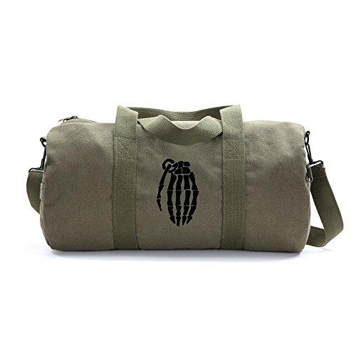 Skeleton Hand Grenade Army Sport Heavyweight Canvas Duffel Bag on Olive & Black, Large