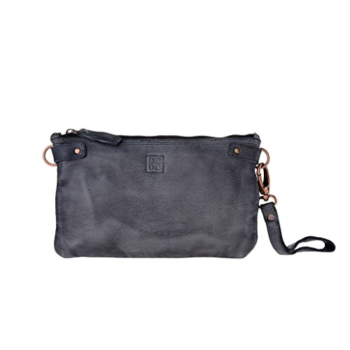 Woman's large clutch bag leather shoulder and wrist strap DUDU - 580-1149 Timeless ~ Pochette - Black Slate by DuDu
