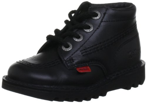 Kickers Kick Hi Toddlers I Core Black Leather Boots-UK 12 Kids - Kickers Childrens Shoes