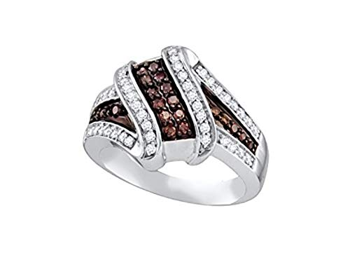 Brandy Diamond Chocolate Brown 10k White Gold Ribbon Design Fine Ring 1/2 Ctw. (10) ()