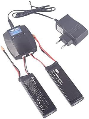 YouCute 2 piezas 7.4V 3000mAh actualización Batería y 1to2 ...