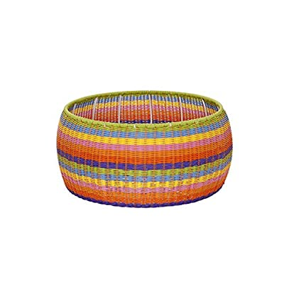 Household Essentials ML-5006 Colorful Indoor Outdoor Resin Wicker Foot Stool Ottoman Storage Basket, Rainbow: Home & Kitchen