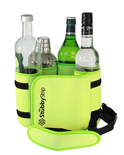 The StubbyStrip VINO: Portable Insulated Drink Carrier with shoulder strap, Neoprene, holds 1-4 Wine Bottle or a go-anywhere martini kit and a portable bar! (Lime)