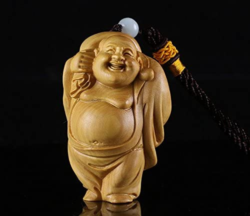 Hand Carved Japanese Boxwood Netsuke Pixiu on Peanut Handy Wood Carving Figurine